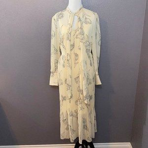 A New Day Floral V Neck Long Sleeve Pleated Dress